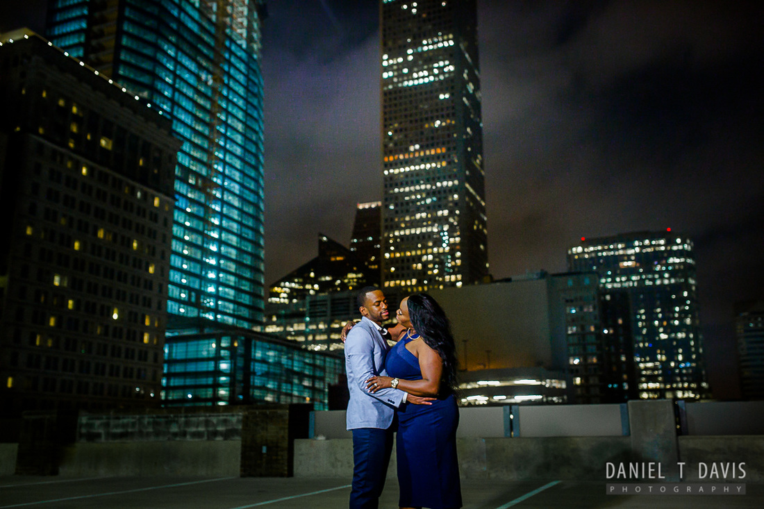 Downtown Houston RoofTop Engagement Photos