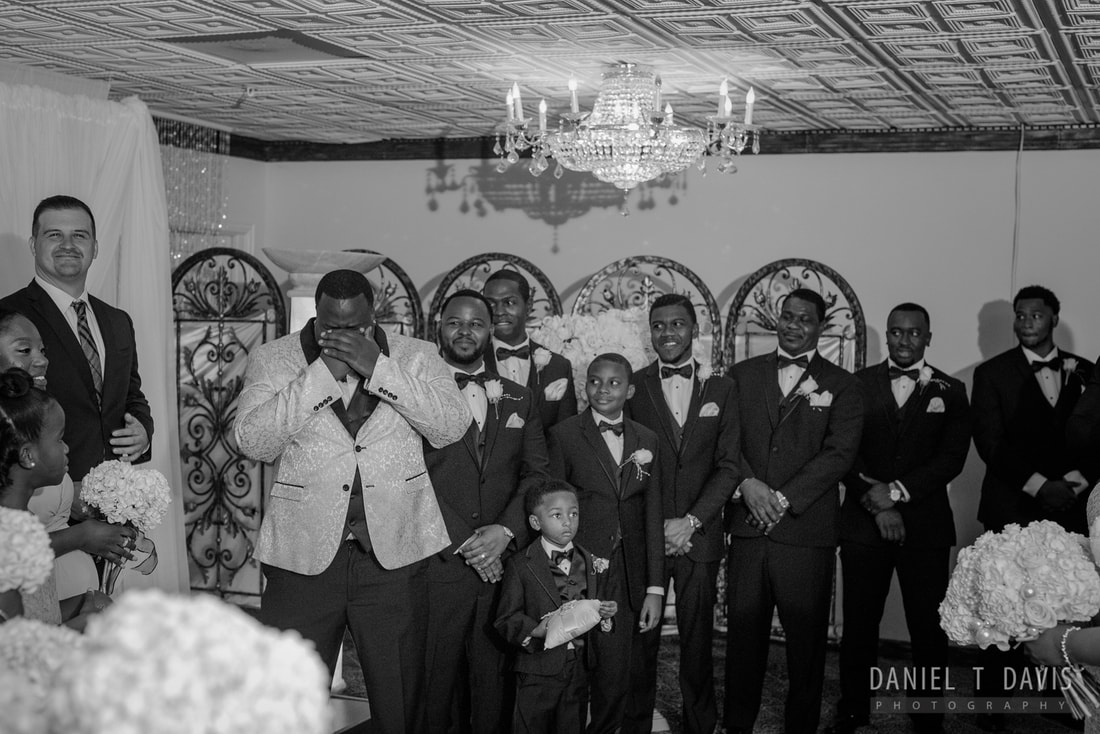 African American Man Crying at Wedding