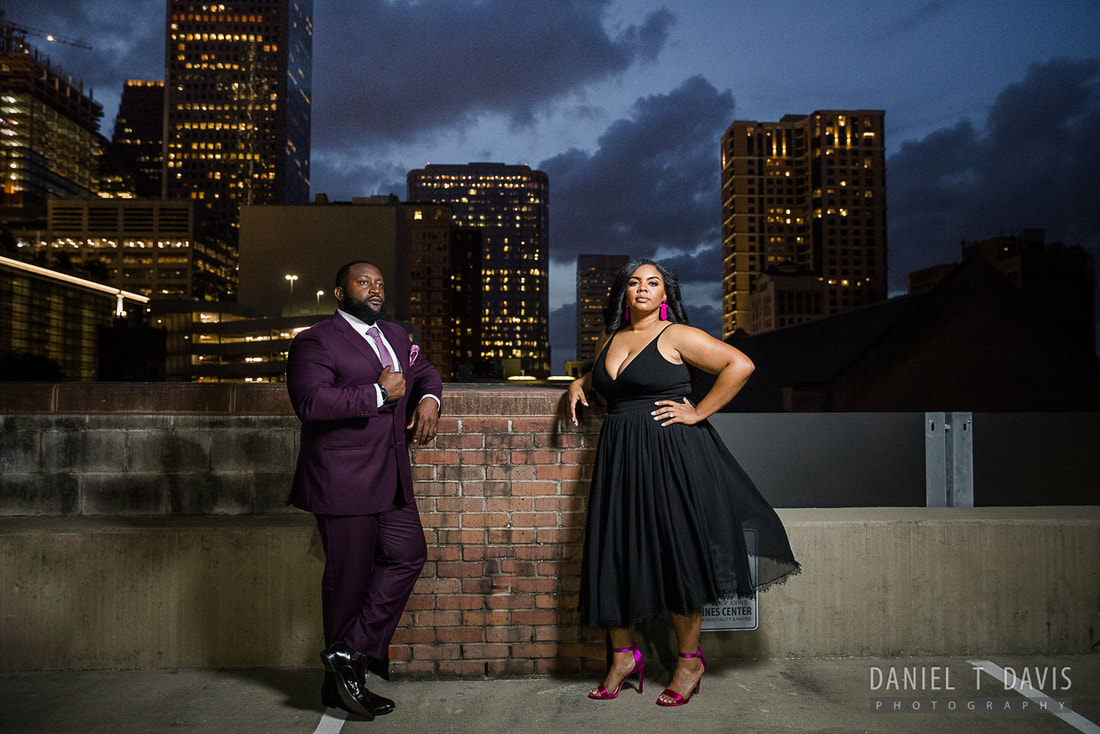 Houston Rooftop Engagement Photos