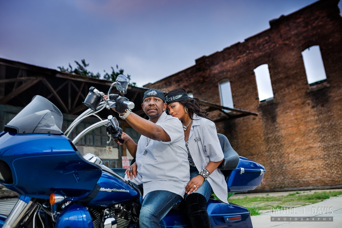 Biker Theme Engagement Photos in Houston